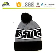 Jacquard mens spandex knitted beanie hats with top ball