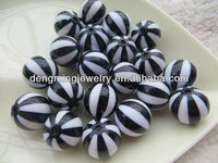 Black Color 12mm 16mm 20mm Acrylic Watermelon Strips Beads for Wholesales Fashion Chunky Necklace Jewelry