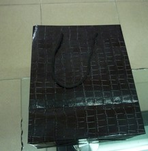 Black Croco Texture Paper Bags with Black Rope Handle
