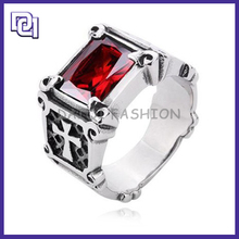 ALLOY RED RHINESTONE STAINLESS STEEL MAN RING