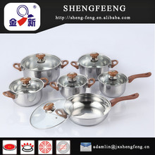 High quality stainless steel 12 pcs cookware set with colored knobs and lids