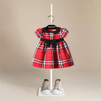 japan hot girl Children's wear plaid cloth double short sleeve in the spring and autumn