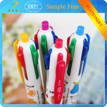 Wholsale creative stationery cheap price plastic 4colors roller ball pen for gift