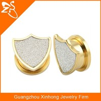 Stainless steel body jewelry gold ear tunnel plug with sand paper shield sahped novel design hot sell American