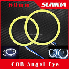 80mm COB Angel Eye DRL Waterproof LED Lighting Auto Headlight With 2 Lampshades Super Bright