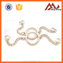 fashion custom logo round metal O-ring with chain charm