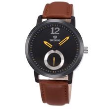 SKONE 9240 Coffee Leather watch Silicone man