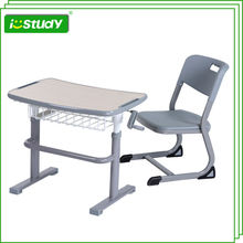 Wood Height Adjustable School Desk and Chairs