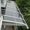 plastic polycarbonate large door canopy awning in black awning bracket