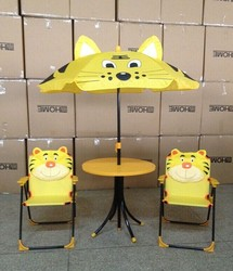 4 pc tiger children folding table and chair with umbrella