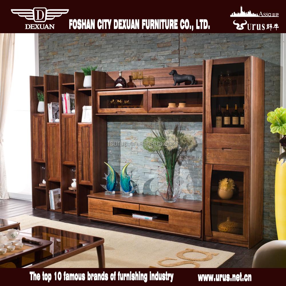 Noord-amerikaanse stijl woonkamer houten tv kast met showcase ...