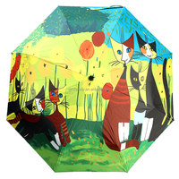 Three Folding Umbrella Think Silver Tape Anti-UV Digital Oil Painting Cats Print Abstract Art Cartoon Sun Rain Parasol Student