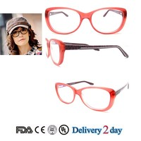 2015 last fashion acetate optical frame for diamond style leopard temple round shape frame pink color frame with spring hinge