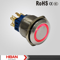 CE ROHS dia.25mm anti vandal waterproof IP67 stainless steel momentary or latching metal push button switch