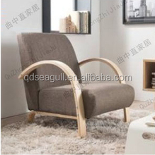 modern living room furniture wood single bent wood sofa set with linen fabric