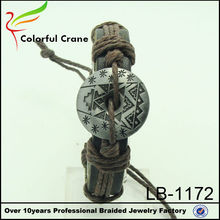 2014 wholesale genuine braided leather charm bracelet