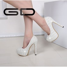 2015 New fashion leather wedding payty lady women summer high heels shoes women pumps