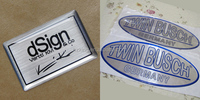 Brushed metallic silver epoxy sticker