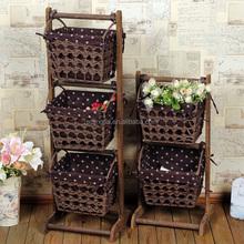 Wooden Standing Handmade Woven Paper Basket Rack Living Room Furniture