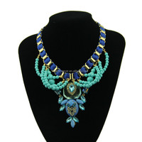 Yiwu Wholesale handcrafted fashion resin Bead pendant statement necklace choker necklaces