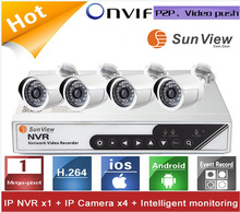 4ch NVR KIT 720P HD P2P IP Camera outdoor ONVIF New Security Alarm System 1080p Super Mini Nvr TV vehicle blackbox dvr