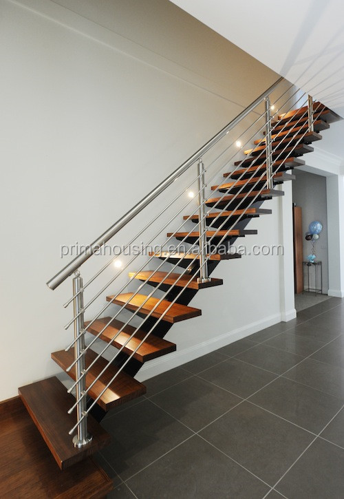 Prefabricated Steel Wood Floating Stairs View