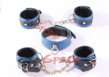 Free shipping 3 in 1 kit Elegant Genuine Leather Restraint KIT: hand cuffs ankle cuffs leather collar Leather flirting adult Toy