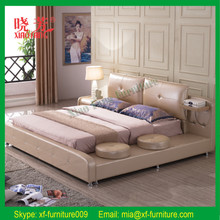 Latest New luxury queen size genuine leather bed