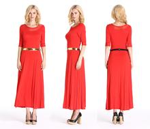 Lycra Cotton Fabric Office Dress Fashion Long Dress