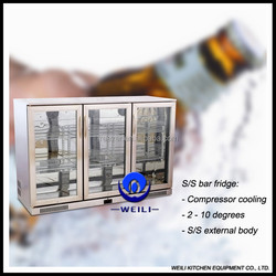 3 glass doors home/hotel stainless steel beer bar chillers for sale
