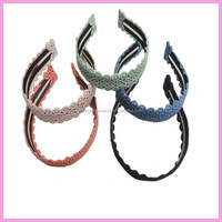 Wide lace plastic headband for women and girls