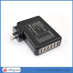 Mobile Phone Accessories Factory In China 6 Port 5v/4a Compact USB Wall Charger, Travel Charger for iPhone Samsung Lg HTC
