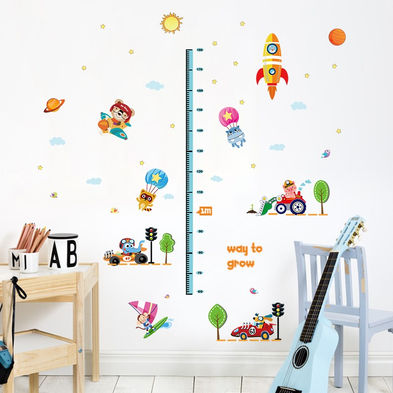 Colorful Home Decor Bedroom Wall Sticker Animal Growth Chart For