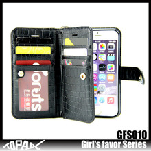 Pu leather flip wallet style leather phone case cover for iphone 6