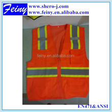 orange ropa chalecos safety class 2 vest with pockets