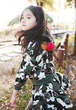 kamuflaj tasarımcı kız moda etek giyen kızlar uzun kollu etek bahar sıcak rop kızlar