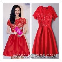 Red Lace Wedding Dress Patterns Elegant Chiffon Cocktail Dress 2015 for Women