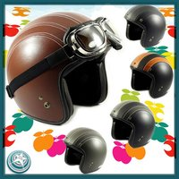 Leather Helmet Jet Casco Casque motorradhelm helm for motorcycle bicycle snowmbile scooter