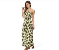 Fashion high quality Ladies dress Off-Shoulder Sexy Flora Printed Palm Bandeau Maxi Dress