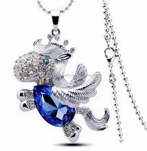 Sapphire diamond smart horse pendant necklace for present