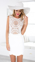 New Summer White Casual Women Dresses Casual Hollow Out Short Sleeves Celebrity Ladies Dress Vestidos de Fiesto