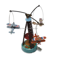 Wholesale New Fashion Classic Wind Up Rotating Airplane Carousel Clockwork Tin Toy Collectible Gift Toys For Children And Adult