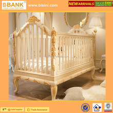 (BK0105-70301)Luxury Wooden Baby Crib/European Royal Golden Hand Carving New born Baby Cot/ Wooden BB Bed