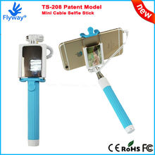 2015 New Patent Model Mini Selfie Monopod with Mirror Selfie Stick with Cable for Mobile Phone and Digital Camera