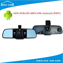SSS-CAR Newest 1080P DVR+ GPS+Bluetooth+MP5 Rearview Mirror android Wifi Rear View Camera Android M-500GPSX