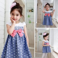 Fashion Cut O-Neck Cap Sleeve Patchwork Bow Party A-Line Dresses for 2-8 Years Girl SV018690