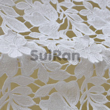 Water soluble lace polyester metallic material customized good quality delicated embroidery appliqued Fabric Lace for dress