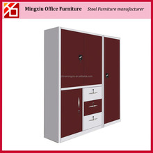 Knock down metal luxury home office furniture wardrobe cabinet with drawer and safe for hanging clothes