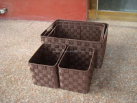 2015 wholesale handmade Nylon woven storage basket Black color with metal frame