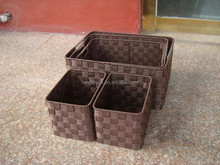 2015 wholesale handmade Nylon woven storage basket Black color with metal frame